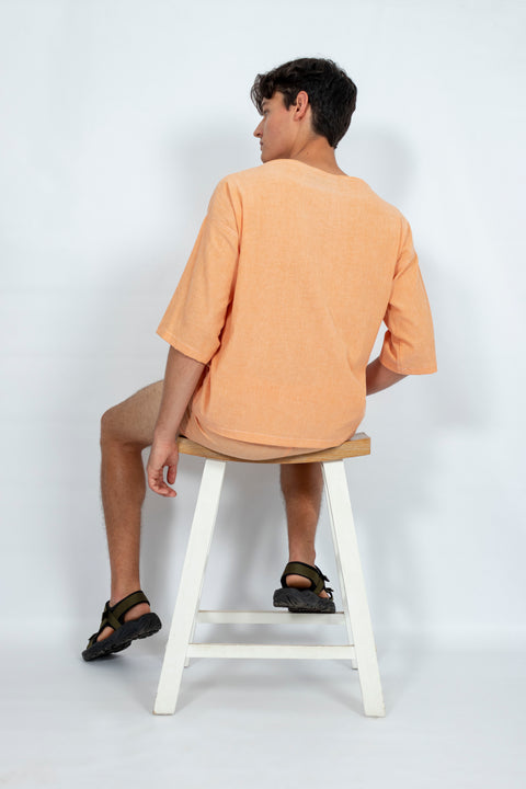 Peach Boat Neck Top