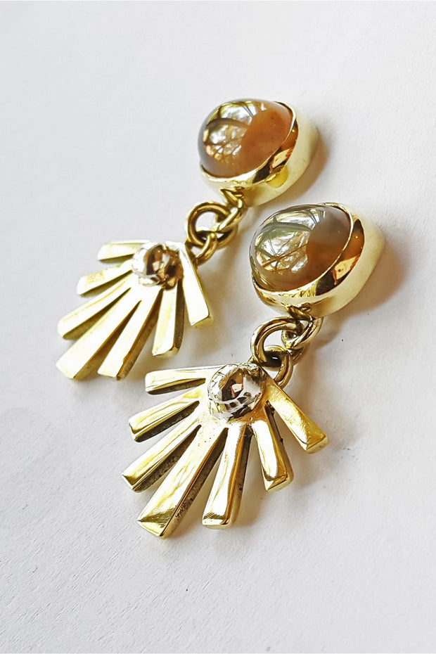 Sun Stone Stud Earrings in Brass