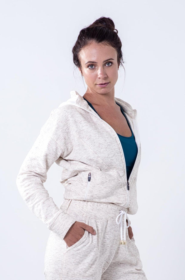 Cream zip-through hooded brushed cotton sweatshirt
