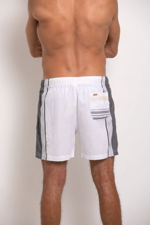 White & Grey Mens Hipster Shorts