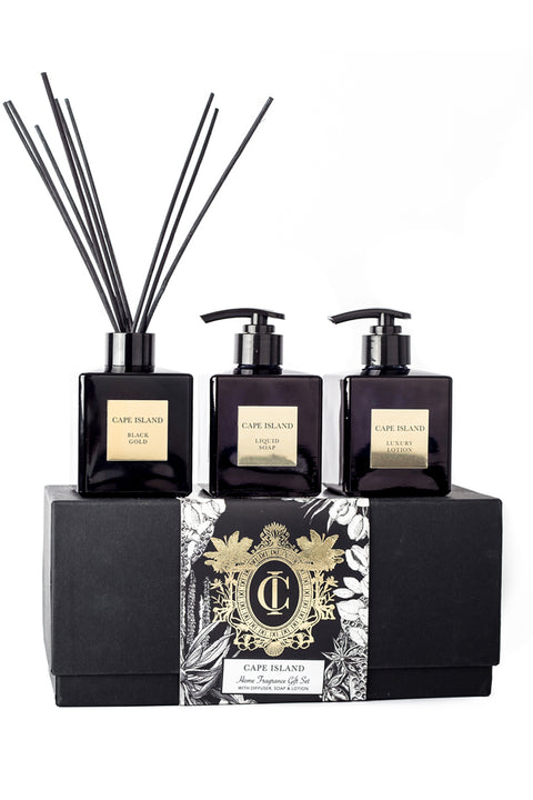 Black Gold Luxury Liquid Soap and Lotion with Fragrance Diffuser