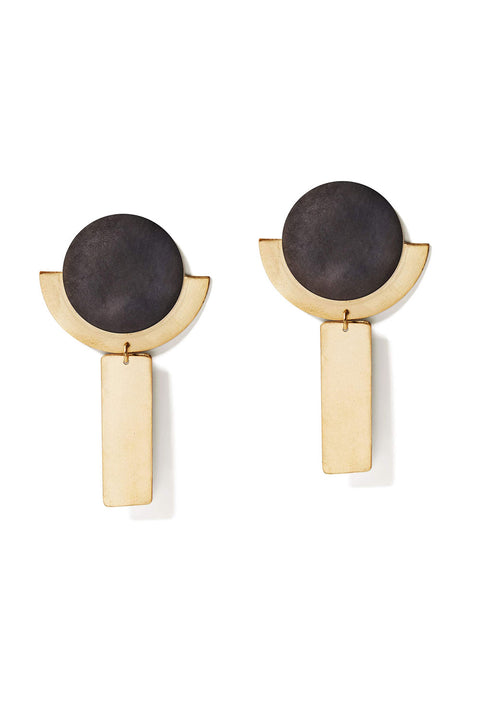 Charcoal & Gold Round Deco Dangles