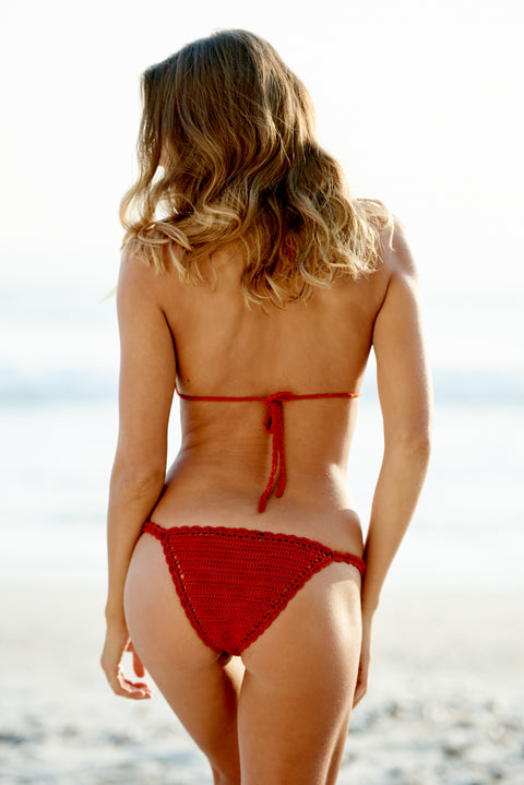 Red Crochet Bikini Bottom