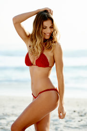 Red Crochet Bikini Top