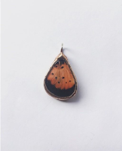 Small Orange & Black Butterfly Pendant