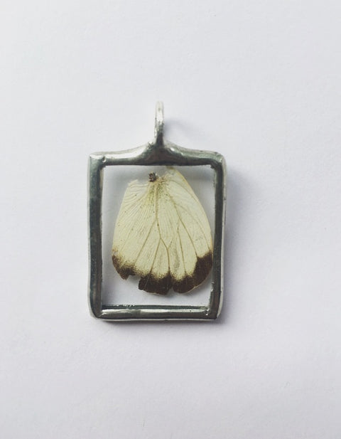 White Moth Butterfly Pendant with Hemp Cord