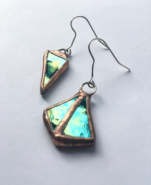 Mismatch Iridescent Green Triangle Earrings