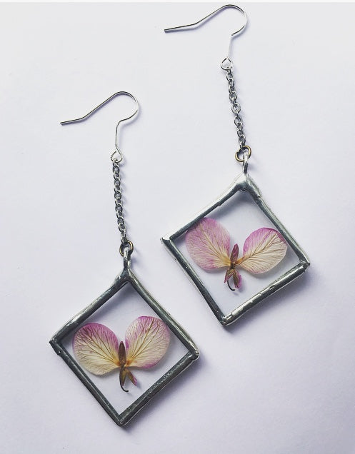 Dangling Pink Blossom Earrings