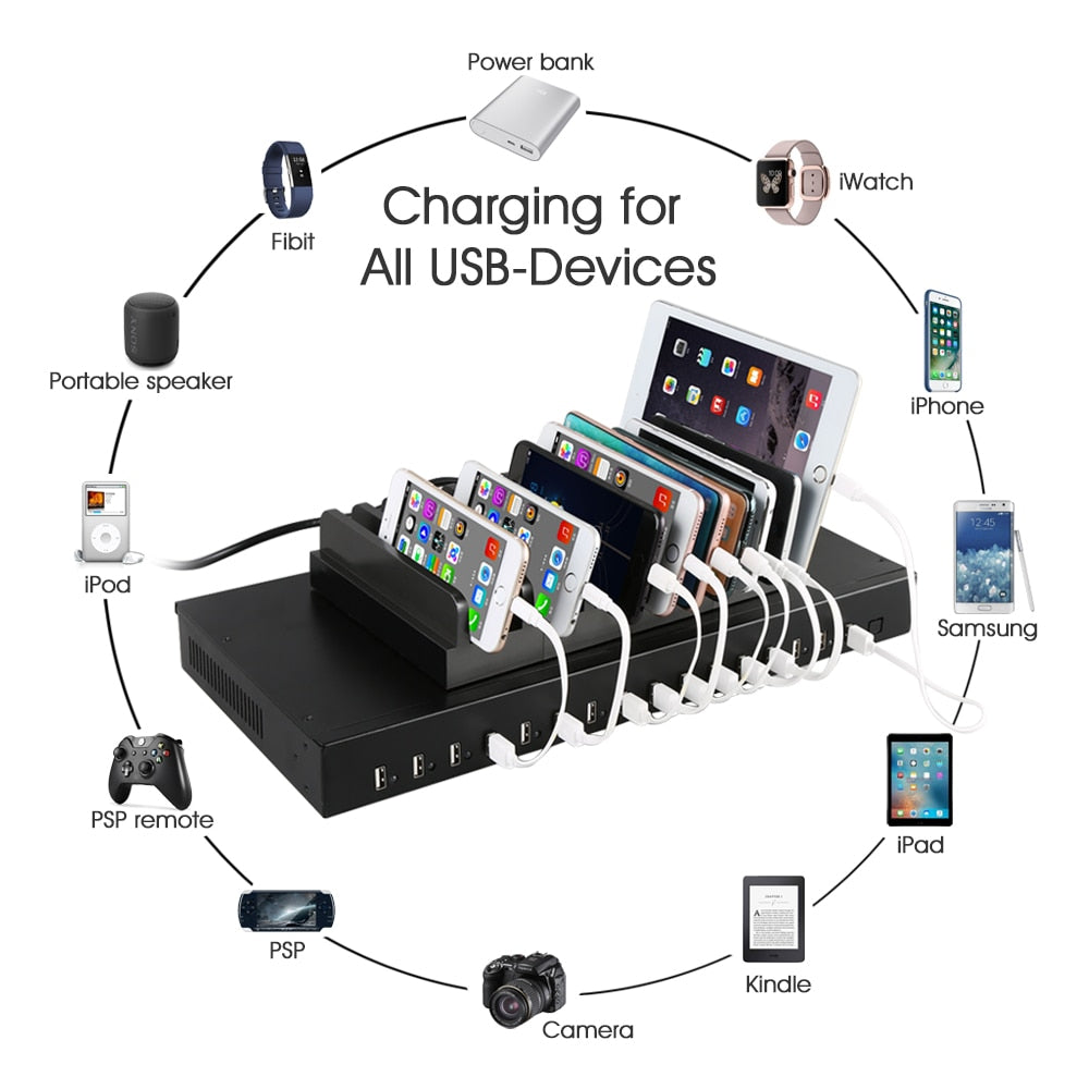 16 ports desktop usb charger hub multi port charging station usb  splitter for charging box cart