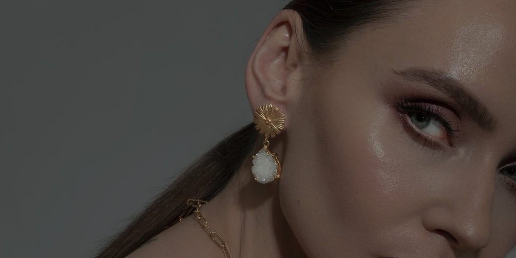 We Are Golden the new season of fine jewellery from One Dame Lane featuring Handmade Earrings and Necklaces