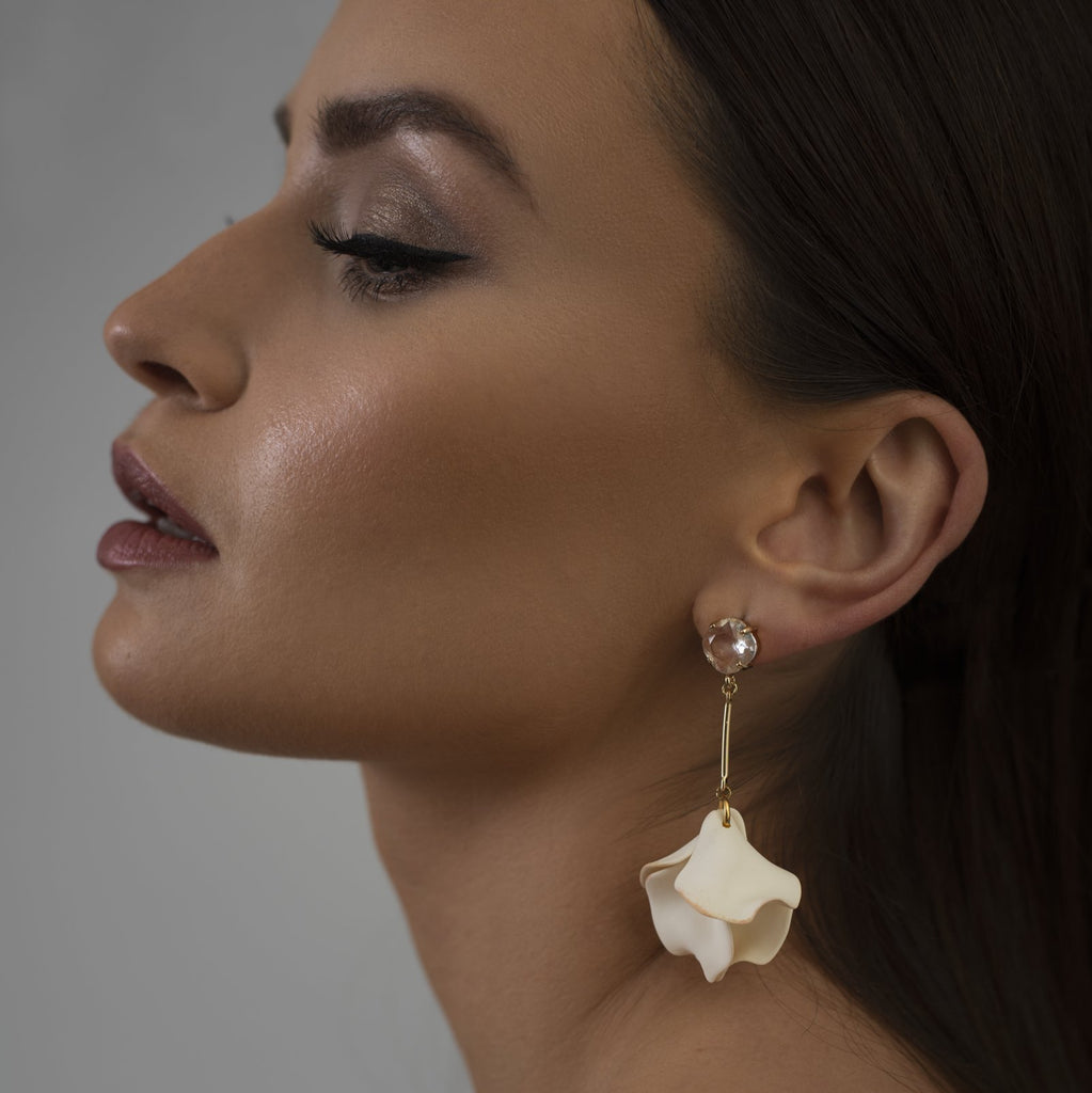 Floral Bridal Earrings Handmade Fine Jewellery from One Dame Lane new Stellar Bridal Collection