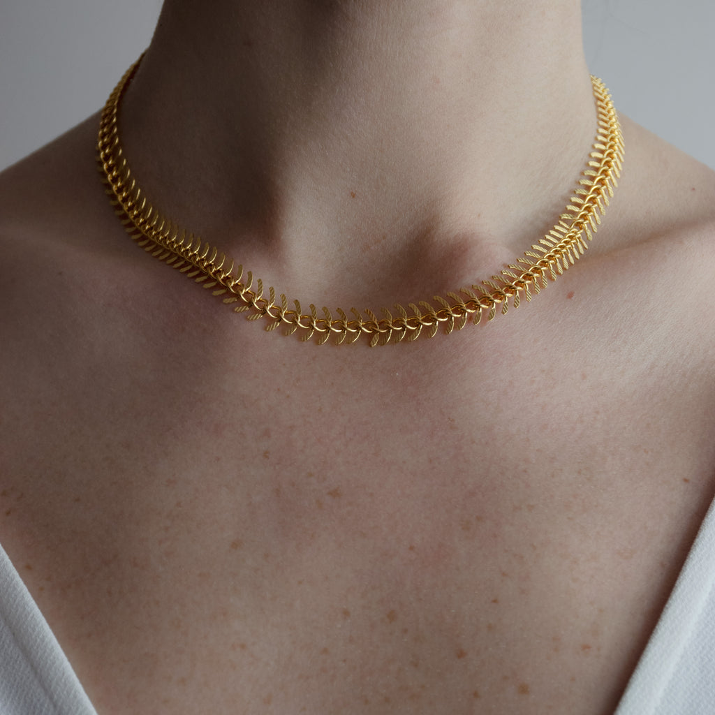 Gold Plate Fish Bone Chain