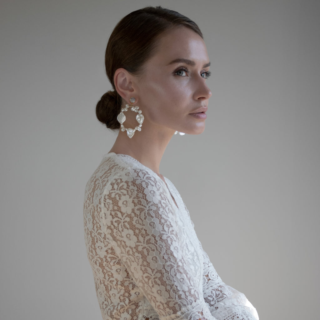 Baroque Pearl Halos Bridal Earrings from One Dame Lane Jewellery