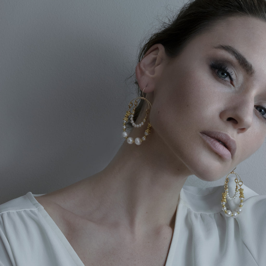 Cultured Pearl Regal Drops Bridal Drop Earrings from One Dame Lane