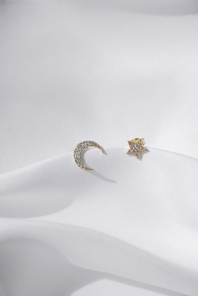 STAR + MOON || STUD EARRING