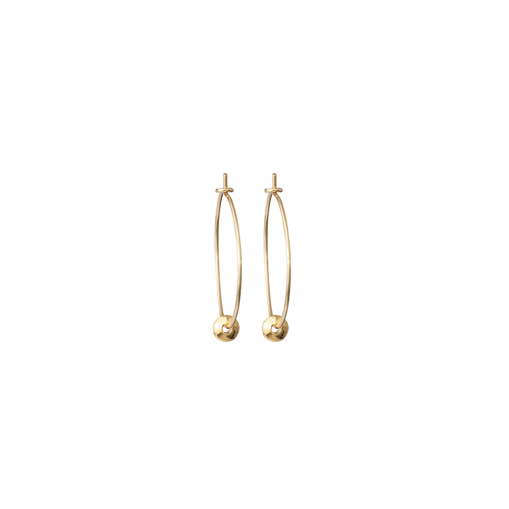 Delicate Hoops with mini Gold Disc