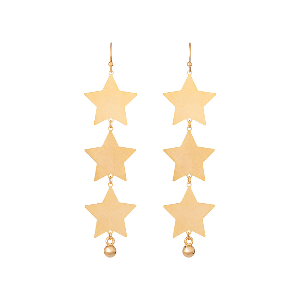 Textured matte gold triple star drops