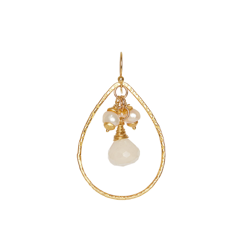 Pear Drops with Moonstone + Freshwater Pearls - Bridal Earrings