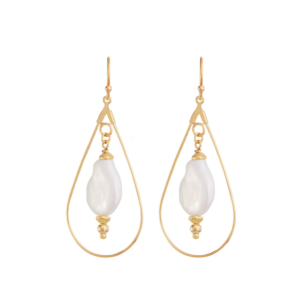 The Coin Pearl with Tear Drop - Handcrafted Bridal Earrings from One Dame Lane