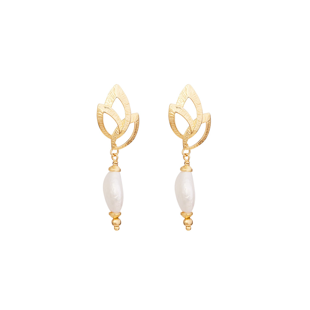 The Coin Pearl with Flared Marquise - Bridal Earrings