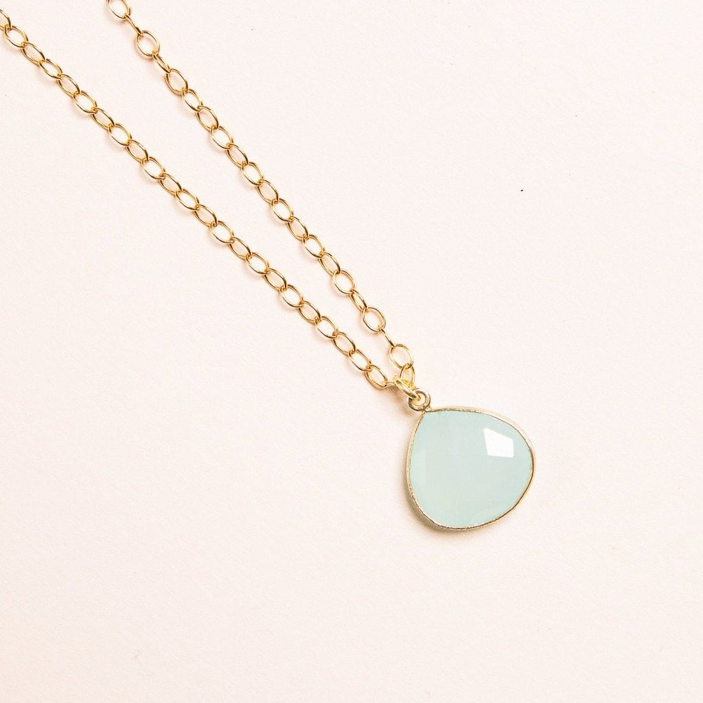 Aqua Chalcedony Heart Shape Drop Necklace