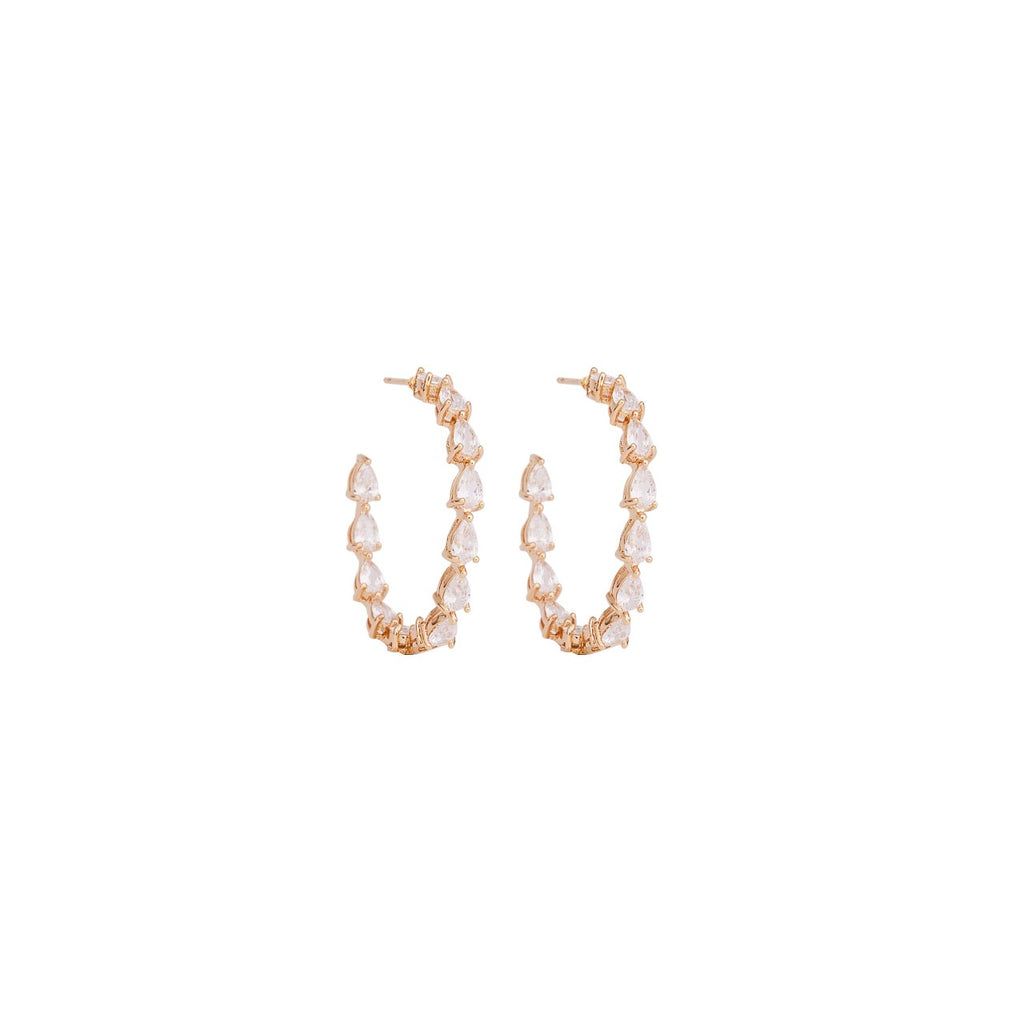 Open Hoop Earrings encrusted with Cubic Zirconia - Bridal Earrings