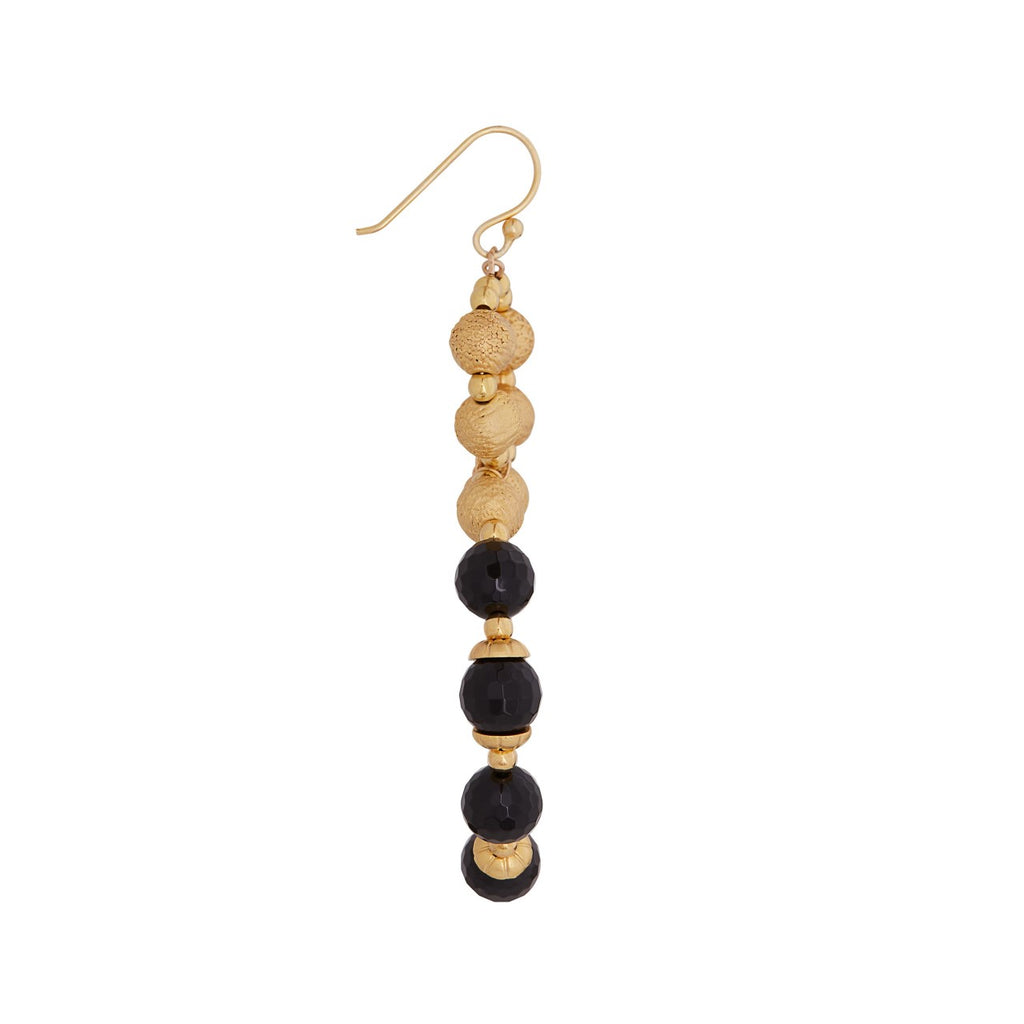 Black Onyx Halo Hoop Earrings