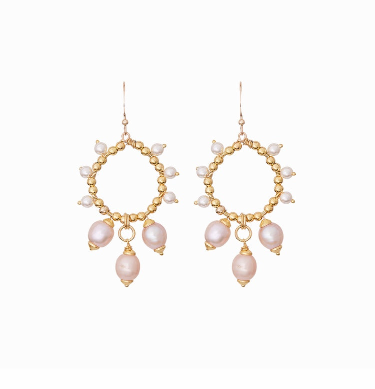 Freshwater Pearl Halos with Keshi Pearl Drops - Bridal Earrings