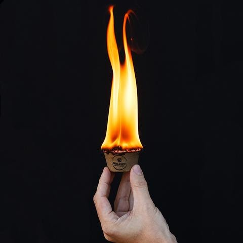 Fire starter with flame