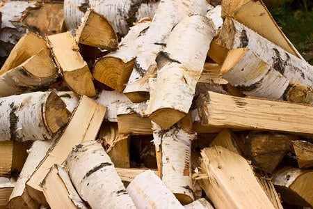 Stack of outdoor firewood