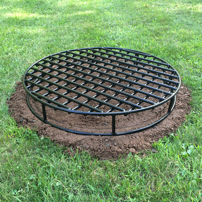 Black metal fire pit grate for bonfires