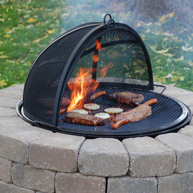 Protective screen dome for fire pits - Walden Fire Pit Spark Screen Block Embers And Ash - Walden Backyards