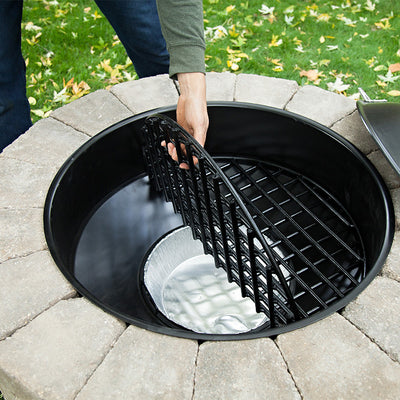 clean up ashes from fire pit remove soot from firepit Round Steel firepit 30 inch diameter bonfire pit fire ring