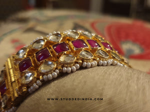 Classic kundan hibiscus string bangle