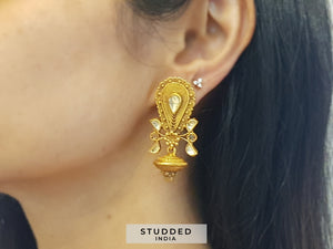 Silver gold plated pear varuna studs