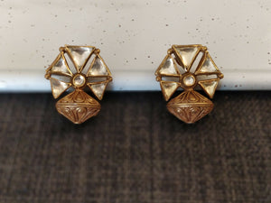 Silver gold plated geometric floris studs