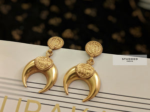 Silver gold plated vintage crescent drops