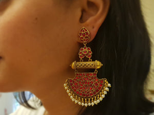 Silver gold plated kumkum earring