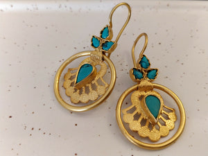 Silver gold turquoise orbit drops