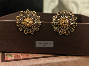 Silver gold plated aura floral studs