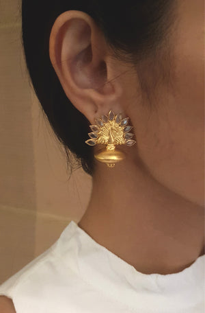 Silver gold plated peacock studs