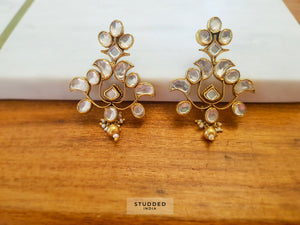 Silver gold plated floral kundan vine drops