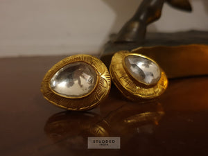 Silver gold plated moon studs