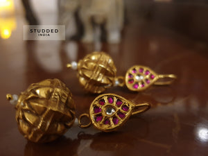Silver gold plated ethnic tabla mini drops