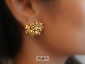 Silver gold plated mini crescent floral studs