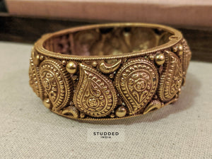 Silver gold plated heritage maanga bangle