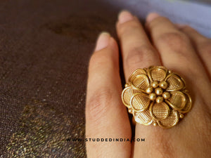 Silver gold plated flora ring