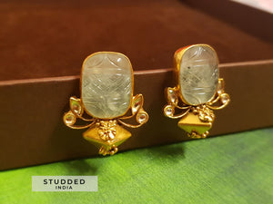 Silver gold plated sage stone studs