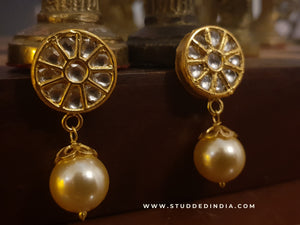 Silver gold plated orbit pearl drop