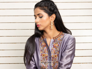 Silver gold plated mangal earring